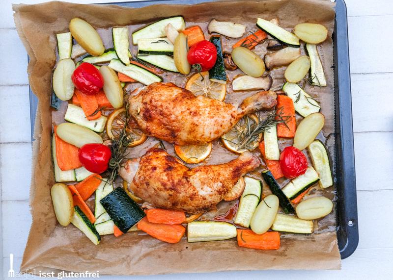 Hühnchen aus dem Ofen mit Zitronen und Gemüse - Hauptgang Frühlingsmenü