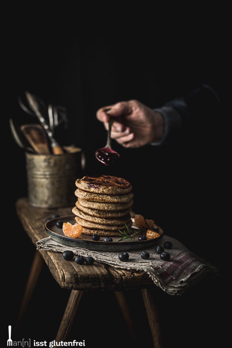 Pancakes mit Blaubeeren - glutenfrei und laktosefrei
