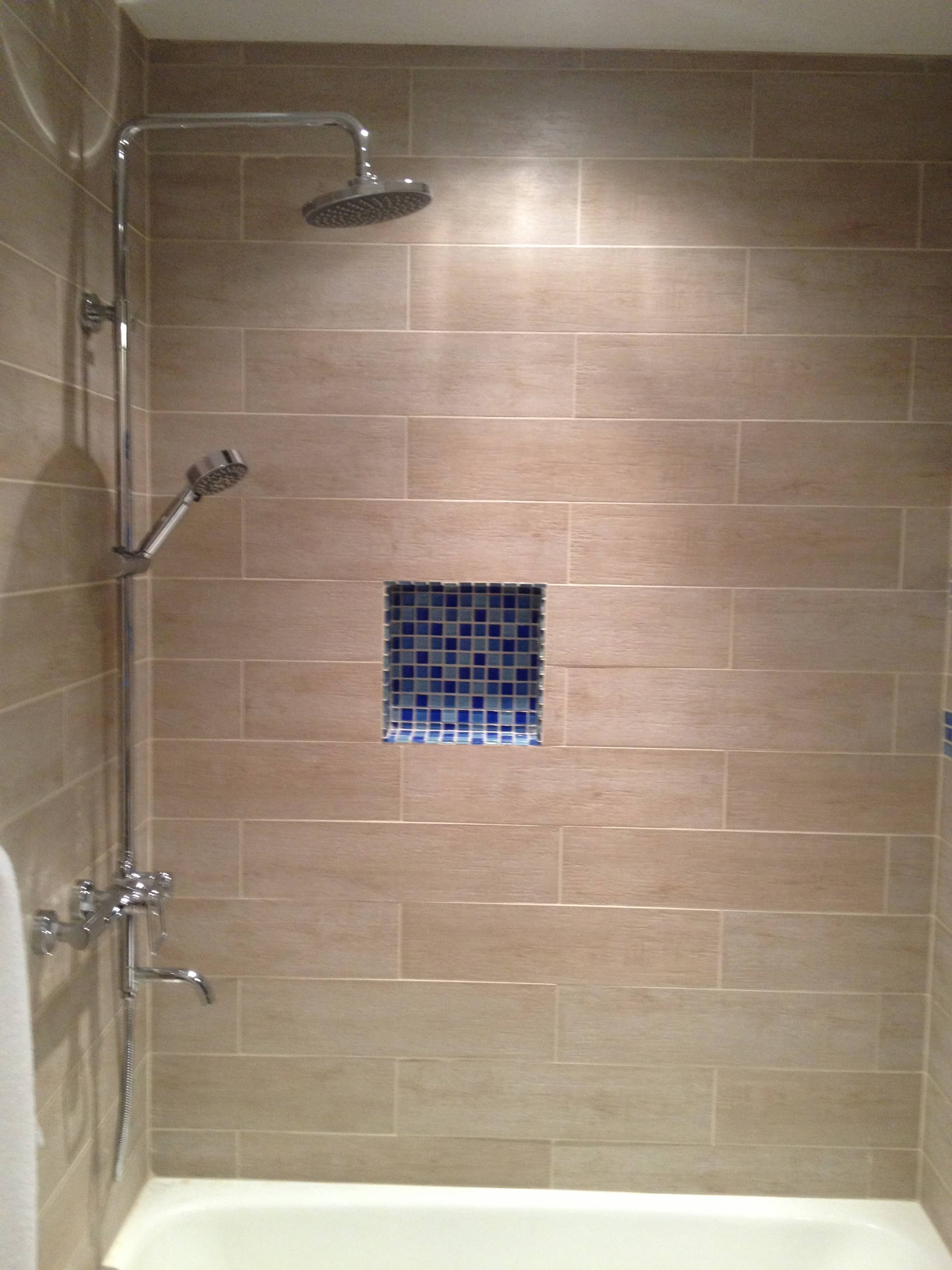 subway grout bathroom grey white cabinets dark tile wood pin look shower