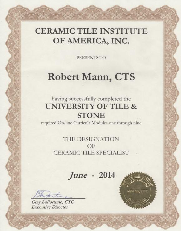 Ceramic Tile Certificate