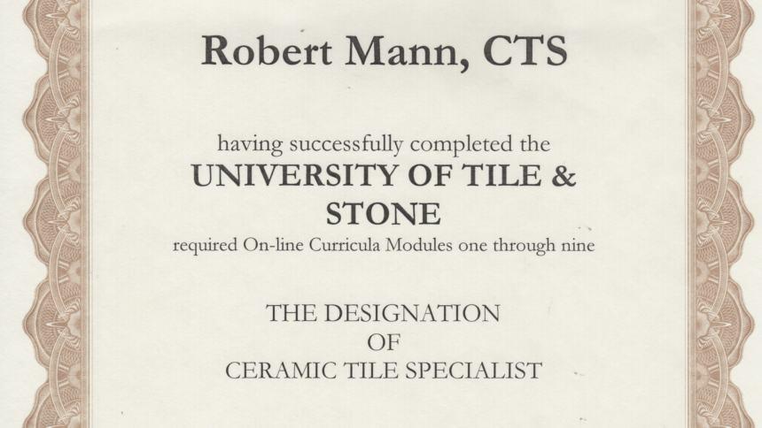 Certificite for Ceramic tile