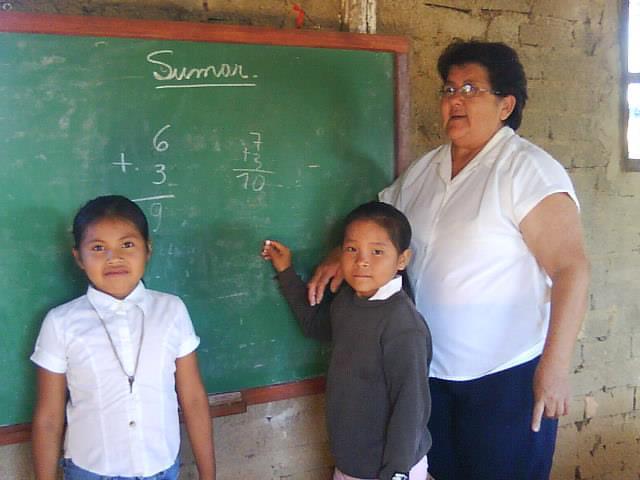 At the school in San Lorenzo.