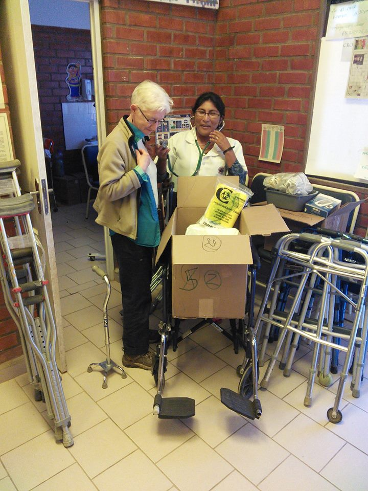 Dropping off donated supplies at the Tipa Tipa clinic - a wheelchair, crutches, canes, and miscellaneous medical supplies. She was particularly excited about the new stethoscope which we had her check out on Karen, and the blood glucose monitor, which were exactly what she had been praying for.