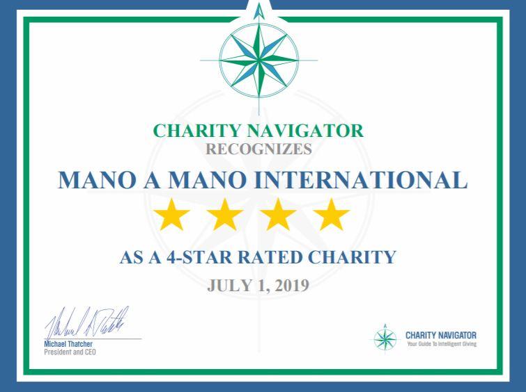 Mano a Mano Receives 6th Consecutive 4-Star Rating from Charity Navigator