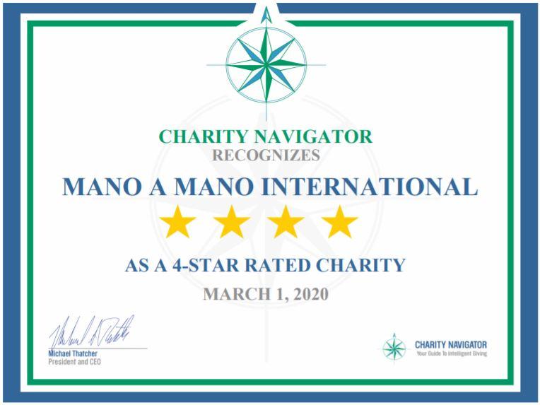 Mano a Mano Receives 7th Consecutive 4-Star Rating from Charity Navigator