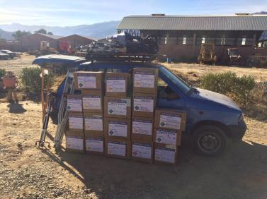 Supplies headed for the boat hospital El Samaritano that travels through the rivers in Beni.