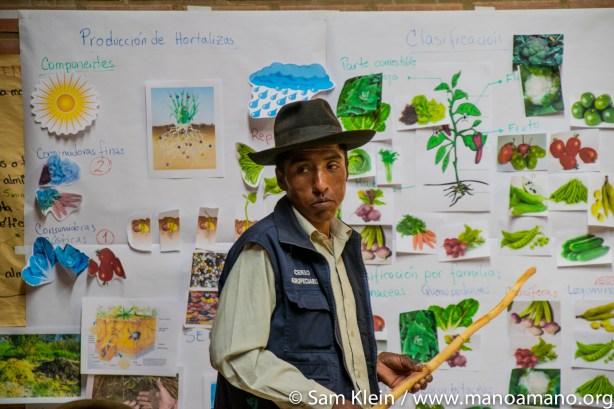 Farmer Cristobel Mendoza explains his greenhouse plan to other farmers.