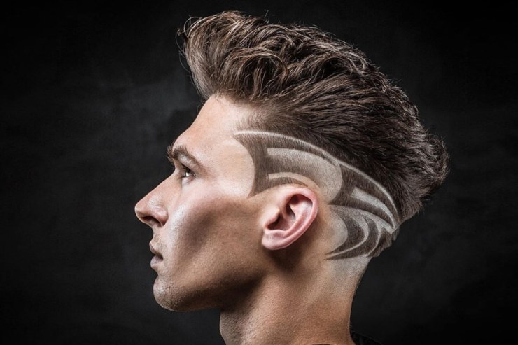 Man with short haircut hairstyle with razor pattern