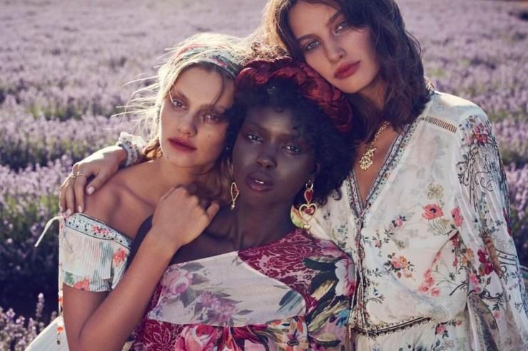 three models in camilla clothing