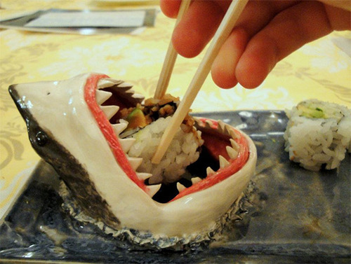 Shark Sushi Plate in EXTREME CLOSE UP