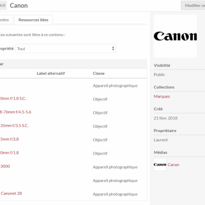 Links between resources enable to list all items where I filled the manufacturer name with the resource 'Canon'.