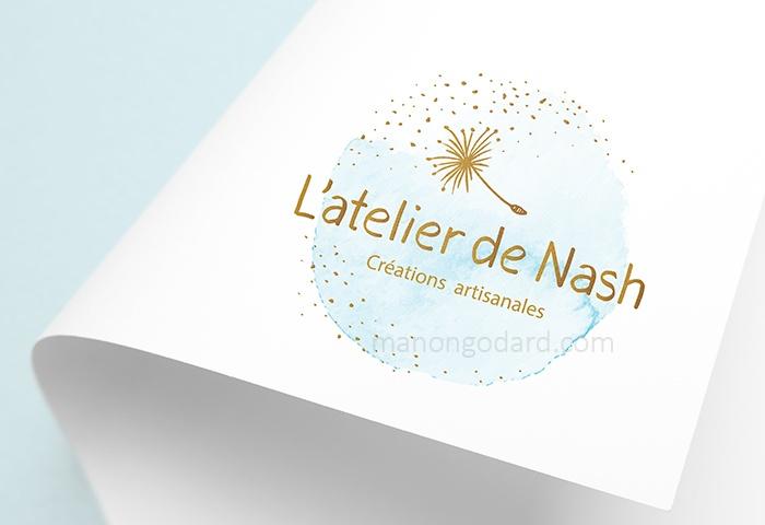 """Logo de """"L'atelier de Nash"""", créatrice de bijoux, bougies, lampes, objets décoratifs en matériaux naturels"""
