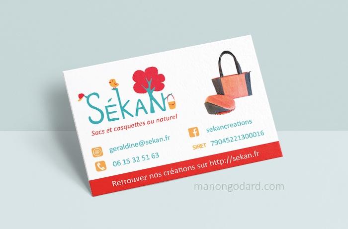 Carte de visite pour la marque SeKaN, entrepreneuse créatrice de sacs, couturière. Graphiste : Manon Godard