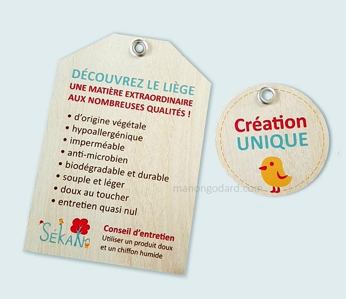 Etiquettes-produits pour la marque SeKaN, entrepreneuse créatrice de sacs, couturière. Graphiste : Manon Godard