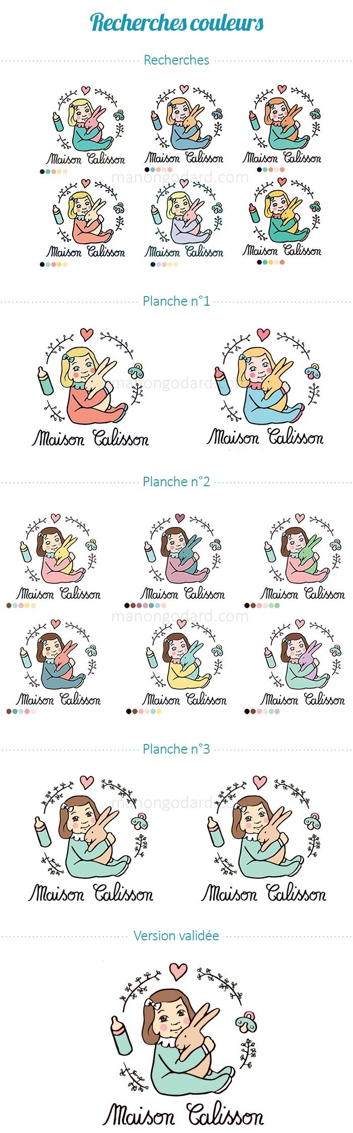 Recherches de couleurs pour le logo de Maison Calisson, maison d'assistances maternelles