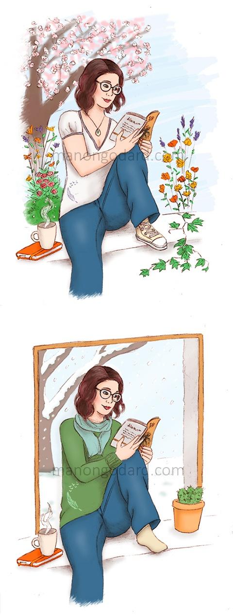Illustrations portraits pour la blogueuse Chibi, version printemps/été et automne/hiver - Illustratrice : Manon Godard