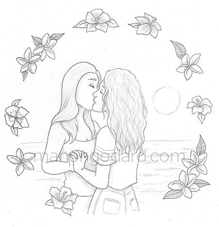 Dessin d'une illustration d'un couple de femmes