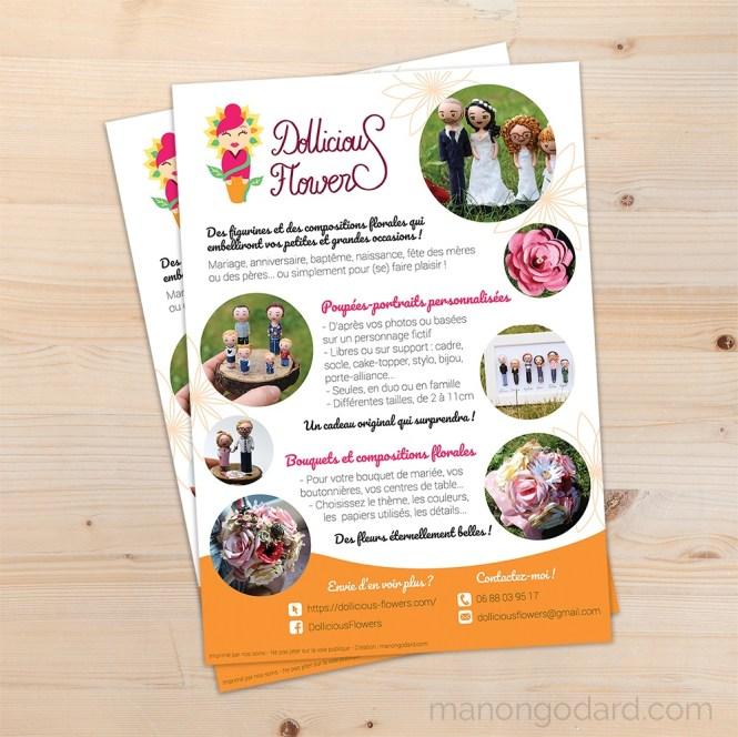 Flyer pour la creatrice de poupees miniatures Dollicious Flowers par Manon Godard
