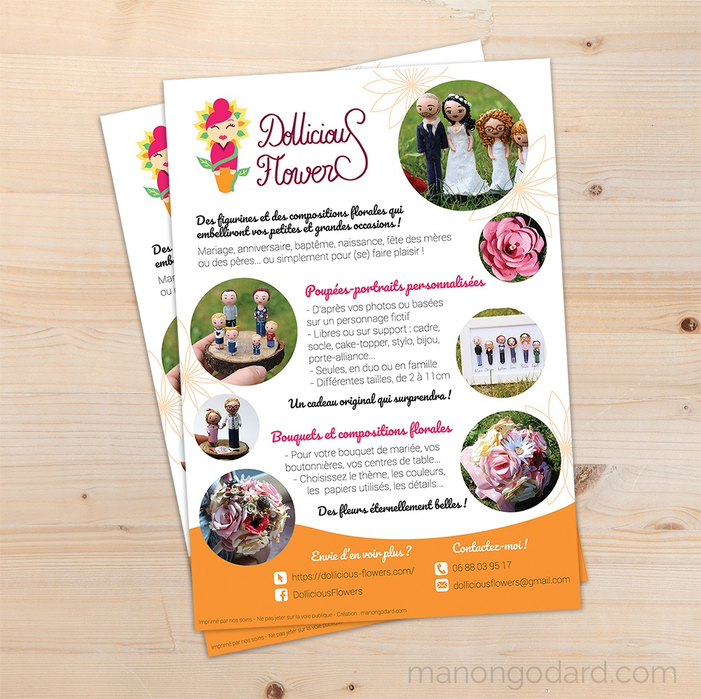 Flyer publicitaire A5 pour Dollicious Flowers, entrepreneuse créatrice de poupées miniatures et fleurs en papier - Graphiste : Manon Godard