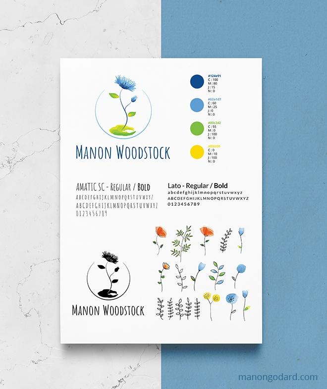 Identité visuelle de Manon Woodstock, entrepreneuse écologique - accompagnements à l'écologie du quotidien - Logo, illustration et identité visuelle créés par Manon Godard, graphiste, illustratrice et webdesigner pour les entrepreneures