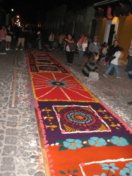 Semana Santa Antigua Guatemala at Night Full Carpet View