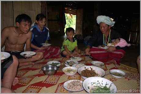 Hill Tribe Eating Supper, Hill Trek, Northern Thailand