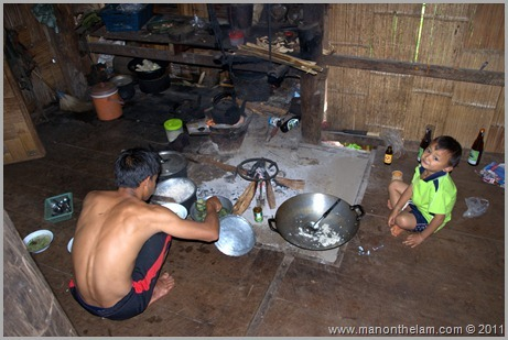 Hill Tribe Preparing a Meal, Hill Trek, Northern Thailand