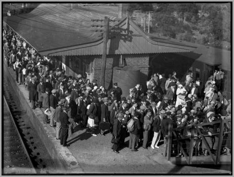 Passengers queued