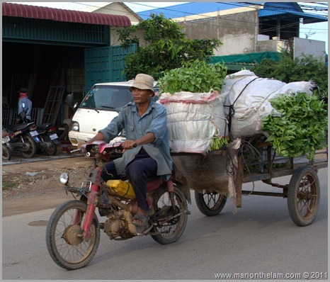 Scooter carrying vegetables