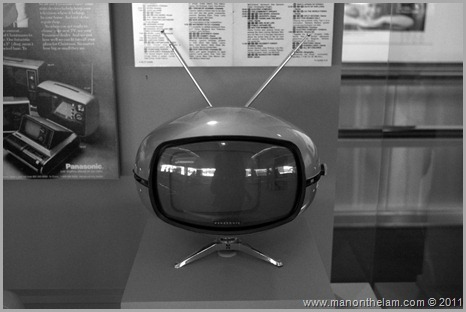 Old futuristic-looking black and white television set