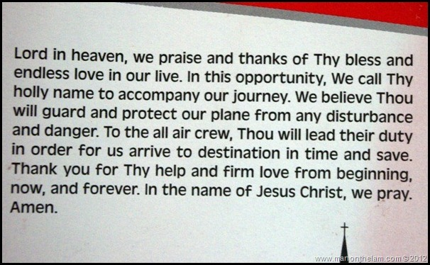 Lion Air Invocation Prayer card on plane -- Protestant Alaska Airlines