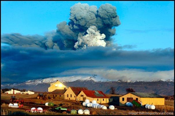 Volcanic ash from Eyjafjallajökull volcano in Iceland