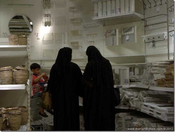Muslim women shopping for bathroom goods, Dubai IKEA, shopping in Dubai, UAE