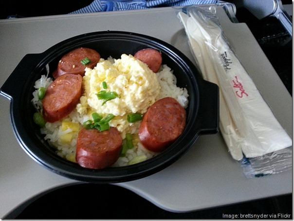 Portuguese sausage skillet on Alaska Airlines flight to Maui