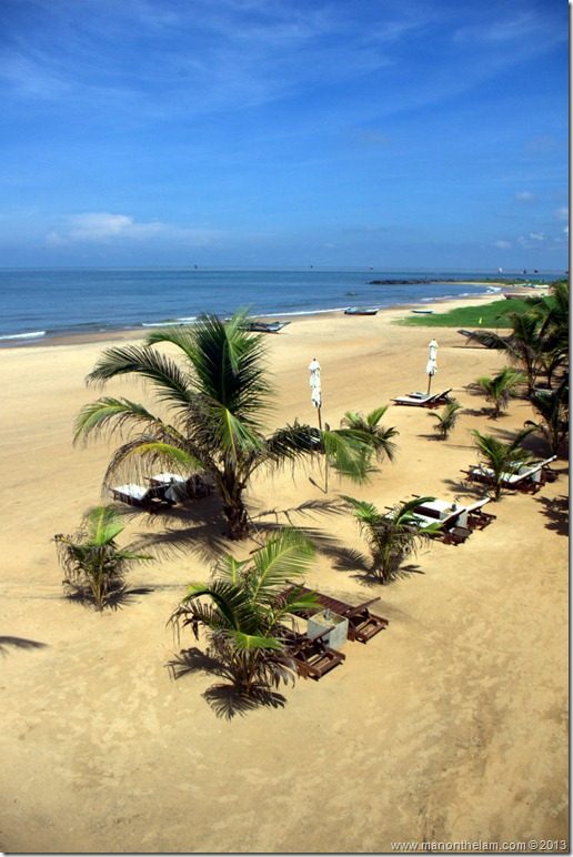 View of beach from Jetwing Blue Hotel, Negombo, Sri Lanka
