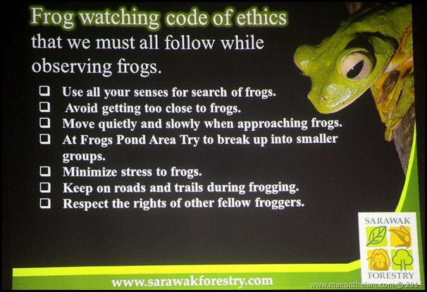 Frog observation code of ethics -- International Bornean Frog Race, Sarawak, Borneo, Malaysia