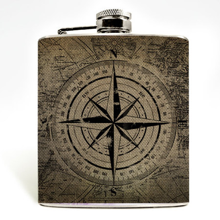 World Map Compass Flask stocking stuffers for men Christmas gift ideas