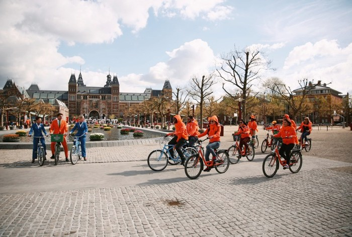 KLM Orange Madness Winners on bikes