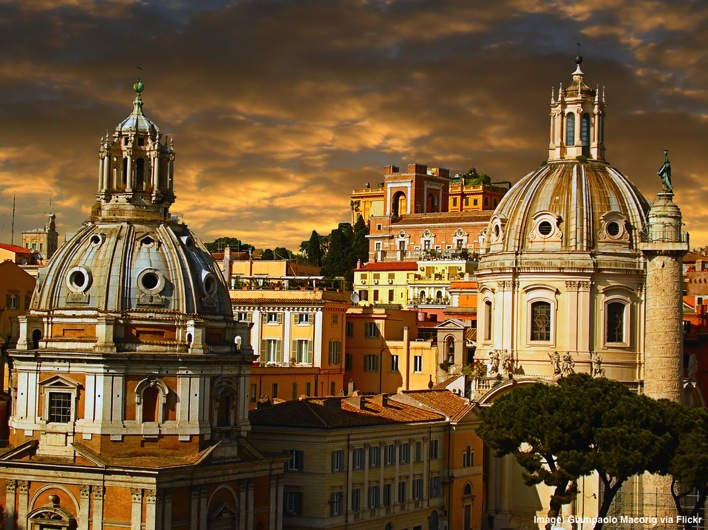 View from the Altare della Patria monument Rome