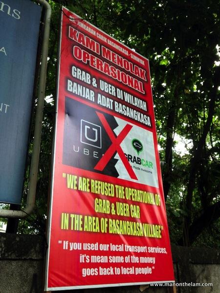 Basangkasa village Bali No Uber No GrabTaxi service sign