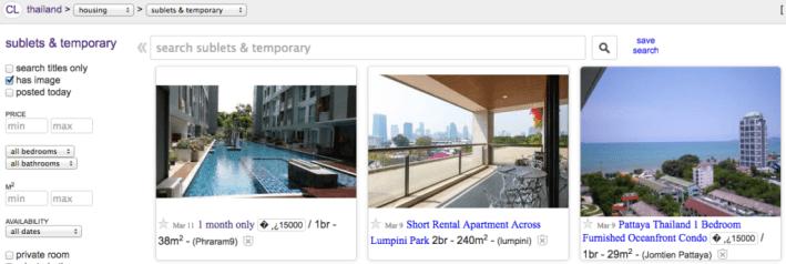 Craigslist Bangkok temporary rentals