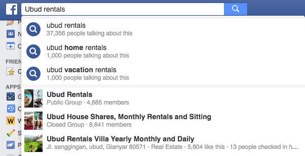 Ubud monthly Rentals on Facebook