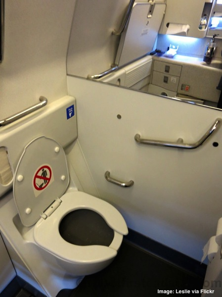 Qatar Airways airplane bathroom