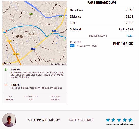 Uber Manila Fare from Bonafacio Global City to Makati 05 PM