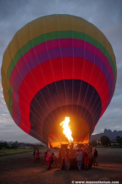 Vang Vieng Hot Air Balloon being inflated Laos
