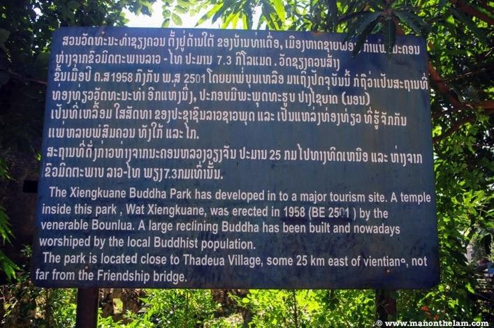 Sign inside Wat Xiengkuane Buddha Park Vientiane Laos