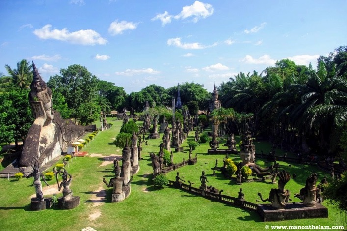 View from top of giant pumpkin Buddha Park Vientiane Laos