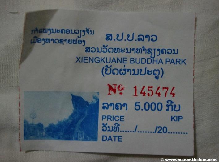 Xiengkuane Buddha Park ticket price cost 5000 KIP Vientiane Laos