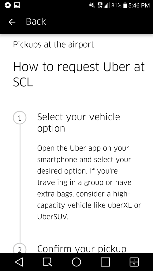 Uber pickup point location Santiago Chile airport4