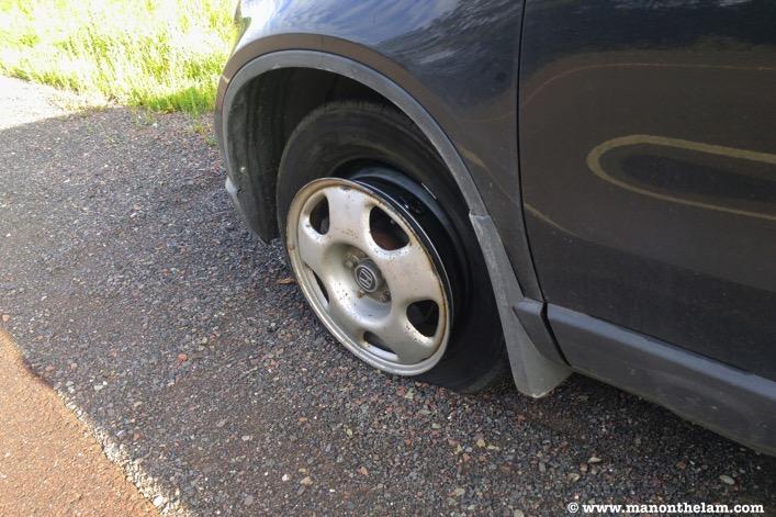 Honda CRV front drivers side flat tire